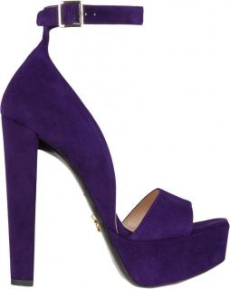 Prada Violet Platform Suede Ankle Strap Sandals