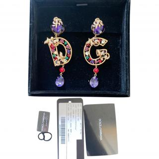 Dolce & Gabbana Crystal Embellished DG Drop Earrings