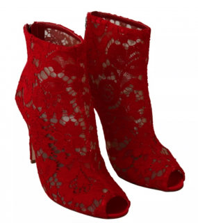 Dolce & Gabbana Red Lace Peep-Toe Booties