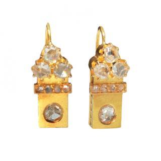 Bespoke antique 18ct yellow gold diamond earrings