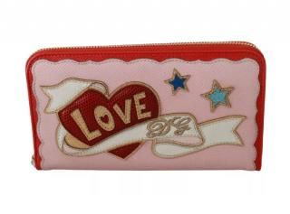 Dolce & Gabbana Pink Embroidered Saffiano Leather Wallet