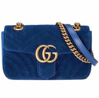 Gucci Small Blue Velvet Marmont Shoulder Bag