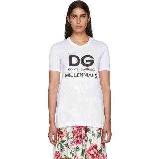 Dolce & Gabbana White DG Millennials T-Shirt