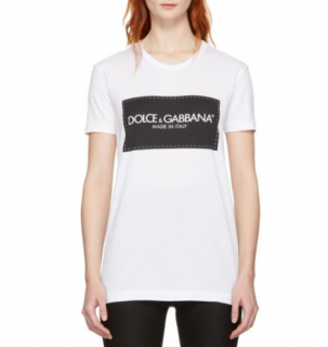 Dolce & Gabbana White Logo Printed Cotton T-Shirt
