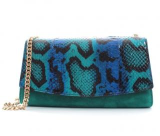 Sergio Rossi Suede & Python Turquoise Shoulder Bag