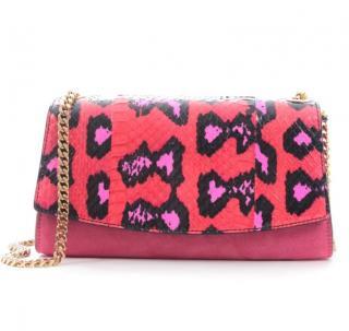 Sergio Rossi Suede & Python Pink Shoulder Bag