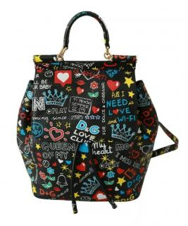 Dolce & Gabbana Black Sicily Graffiti Print Backpack