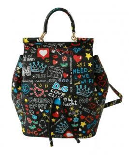 Dolce & Gabbana Black Sicily Graffiti Print Backpack