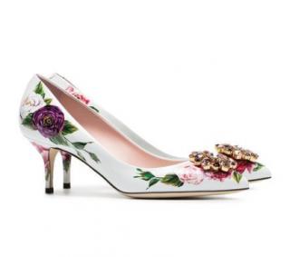Dolce & Gabbana White 60 Crystal Embellished Floral Pumps
