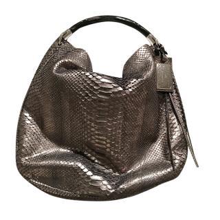 Ralph Lauren platinum python skin shoulder/crossbody bag