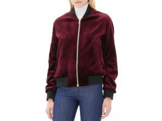 Sandro burgundy velvet bomber jacket