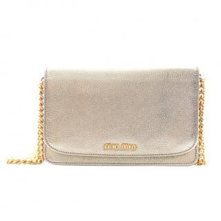 Miu Miu Pale Gold Metallic Leather Crossbody Bag