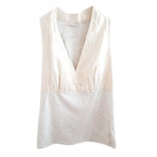 Brunello Cucinelli Beige Silk Blend Sleeveless Top