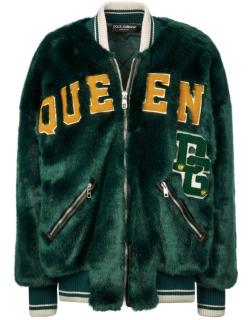 Dolce & Gabbana Faux Fur DG Queen Bomber Jacket