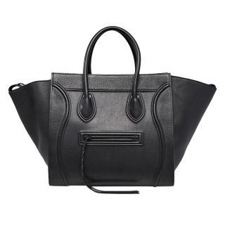 Celine Medium Black Leather Phantom/Luggage Tote
