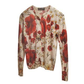 Dolce & Gabbana Silk Knit Printed Cardigan