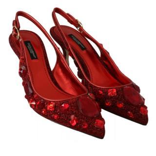 Dolce & Gabbana Red Glitter Crystal Embellished Slingback Sandals