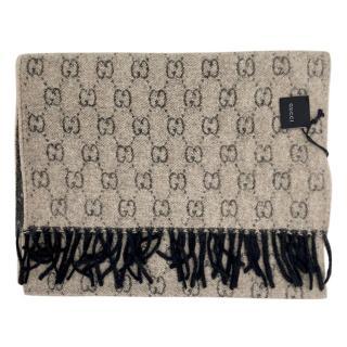 Gucci Reversible Cashmere Knit Monogram Scarf