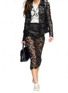 Dolce & Gabbana Black Lace Midi Skirt