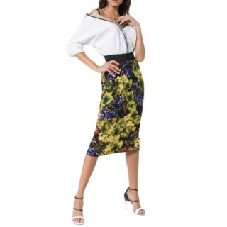 Dolce & Gabbana Grape Print Fitted Midi Skirt