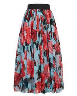 Dolce & Gabbana Blue Silk Chiffon Floral Print Maxi Skirt