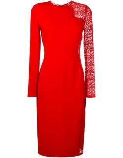 Stella McCartney Red Lace Panelled Stretch Cady Midi Dress