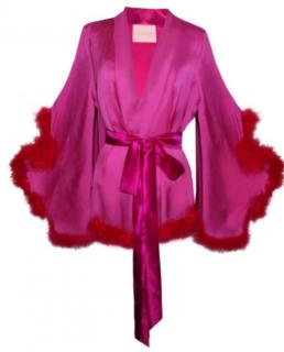 Maguy De Chadirac Pink Silk Marabou Feather Trimmed Kimono Robe