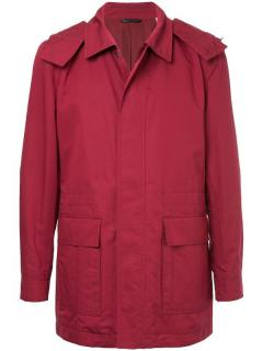 Gieves & Hawkes red cotton zip front cotton blend coat/jacket