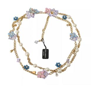 Dolce & Gabbana Faux Pearl & Crystal Floral Necklace