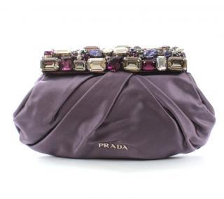 Prada Crystal Embellished Satin Clutch
