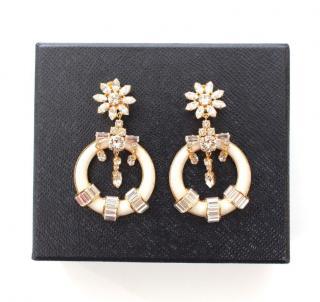 Prada Crystal Embellished Clip-On Drop Earrings