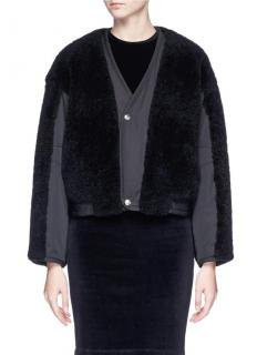 T by Alexander Wang black shearling cropped jacket