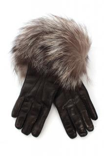 Prada black lambskin leather and red fox fur gloves size 7