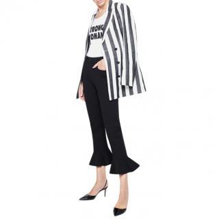 Rita Ora for Escada Black Ruffled Flare Jeans
