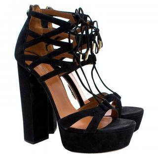 Aquazzura Black Suede Lace-up Platform