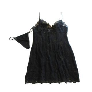 Marjolaine Black Jalouise Night Dress & Thong