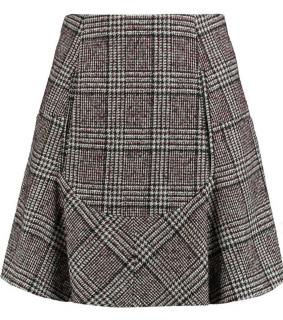 Carven Plaid Wool A-Line Skirt