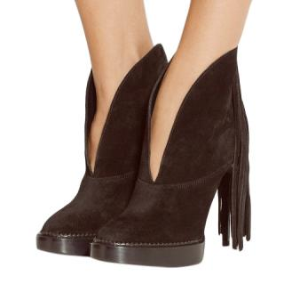Burberry Prorsum Suede Platform Ankle Boots With Fringe, size 41