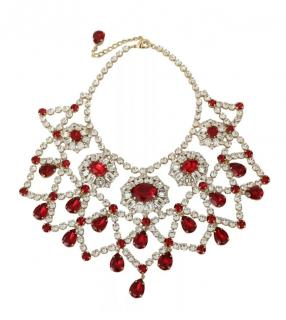 Dolce  & Gabbana exclusive red and clear crystal bib necklace