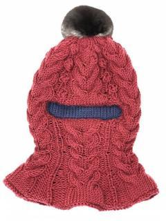 FurbySD Kids Pink/Blue Merino Wool & Chinchilla Fur Balaclava