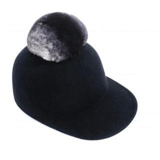 FurbySD Black Wool Hat with Chinchilla Fur Pom Pom