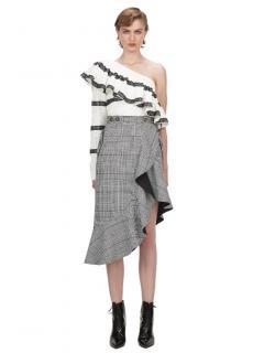 Self Portrait Black & White Check Flounced Midi Skirt