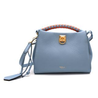 Mulberry Blue Leather Small Iris Bag with Braided Handle - New Season