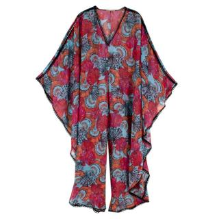 Emilio Pucci Multi-coloured Crochet Trim Kaftan Jumpsuit