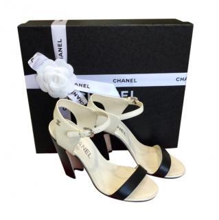 Chanel Black & White Block Heel Sandals