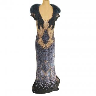 Fendi Sequin Silk Embellished Gown with Fur Neck