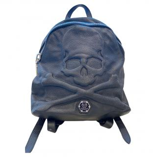 Philipp Plein Black Skull Detail Calfskin Backpack