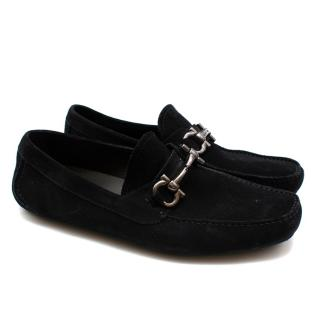 Salvatore Ferragamo Black Suede Horsebit Drivers