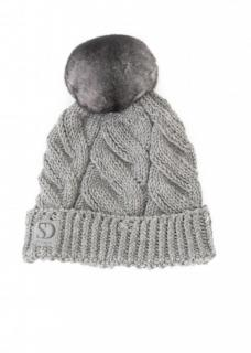 FurbySD Grey Knit Hat with Chinchilla Pom Pom