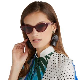 Miu Miu Red Crystal Embellished Cat-Eye Sunglasses